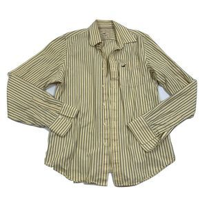 Hollister Button Down Pale Yellow/Green Striped
